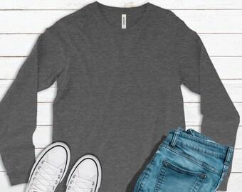 Bella + Canvas, 3501, Heather Deep Gray, Blank Shirts, Plain Adult Unisex Long-Sleeve T-shirts, Grey, Unisex, DIY Blanks, Make Your Own Gift