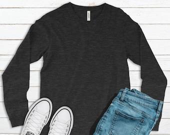 Bella Canvas, 3501, Charcoal Black Triblend, Blank Shirts, Plain Adult Unisex Long-Sleeve T-shirts, Unisex, DIY Blanks Supplies