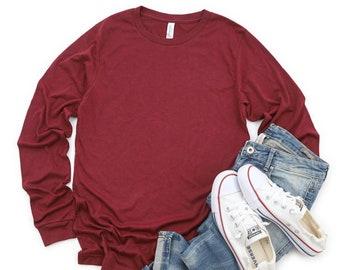 Bella + Canvas, 3501, Heather Cardinal, DIY Blank Shirts, Plain Adult Unisex Long-Sleeve T-shirts, Men's, Women's, DIY Blanks Supplies