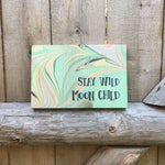 Stay Wild Moon Child Sign / Hippie / Wooden Wall Hanging / Home Decor / Marbled Wood / Boho Chic Style