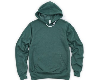 Bella + Canvas, 3719, Heather Forest Green, Blank Hoodie, Adult Unisex Hooded Sweatshirt, Sponge Fleece Pullover, DIY Blanks