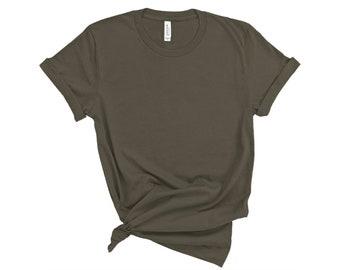 Bella + Canvas, 3001, Army, DIY Blank Shirts, Plain Adult Unisex T-shirts, Men's, Women's, DIY Blanks Supplies, Army Green, Olive Green