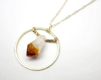 Gold Sun Necklace with Citrine Point and Faceted Beads // Modern // Bridal // Long // Statement