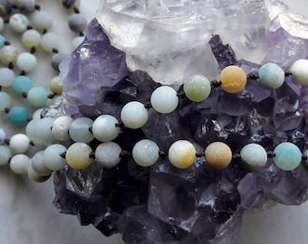 """50"""" Hand-Knotted Mindful Mala in Mixed-Color Amazonite / boho / statement / elegant / layering"""