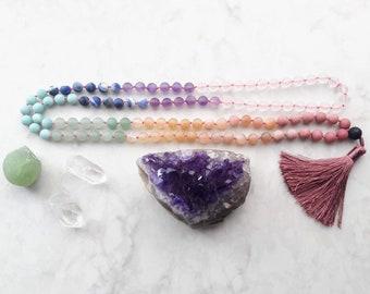 Custom 108 Bead Hand-Knotted Meditation Mala : mindful / boho / statement / elegant