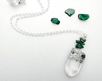 Phantom Quartz & Malachite Necklace