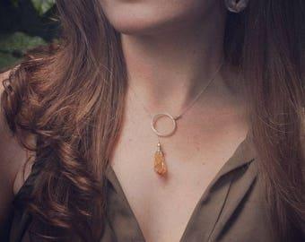 Citrine Mini Sun Lariat on fine silver chain // Modern // Bridal // Minimalist