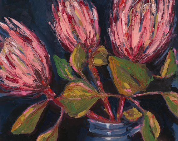 Proteas In Blue Pot Painting Archival Limited Edition Wall Art Print
