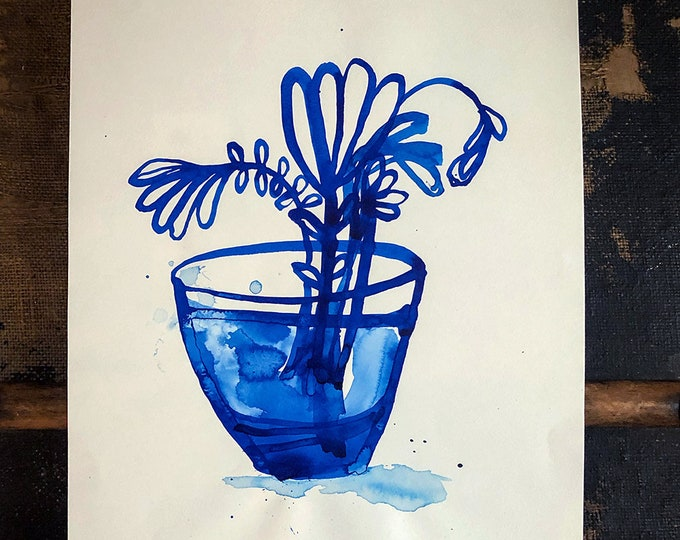 Original Watercolor artwork Inky Blue Vase by Paula Mills Unique Botanical Wall Art