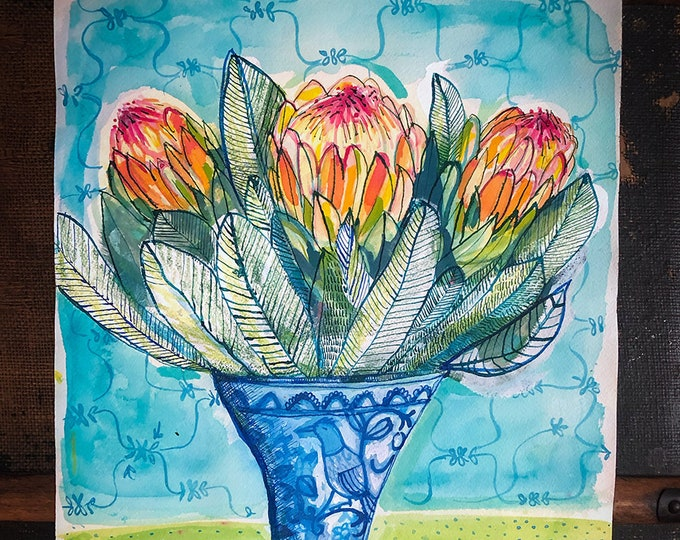 Original acrylic mixed media painting on paper Proteas In My Favourite Vase botanical artwork by Paula Mills Wall Art