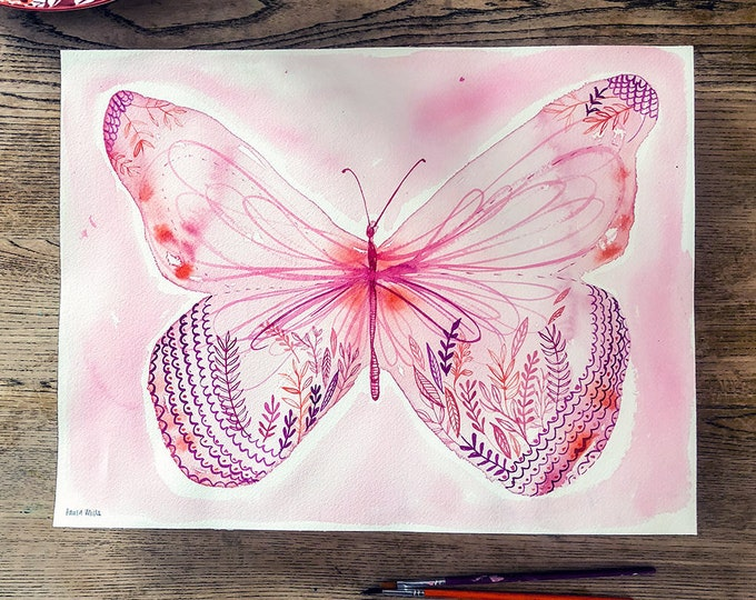Big Pink Butterfly Original watercolor and ink painting on paper artwork by Paula Mills