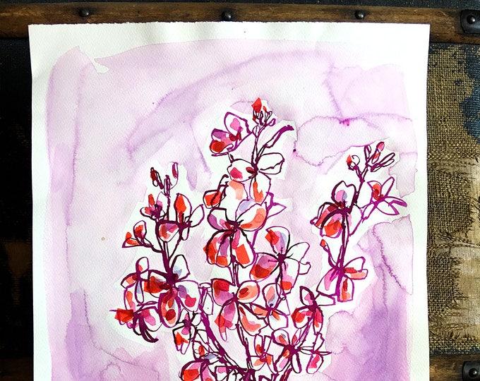 Original watercolor and ink painting on paper Doty Purple Vase artwork by Paula Mills