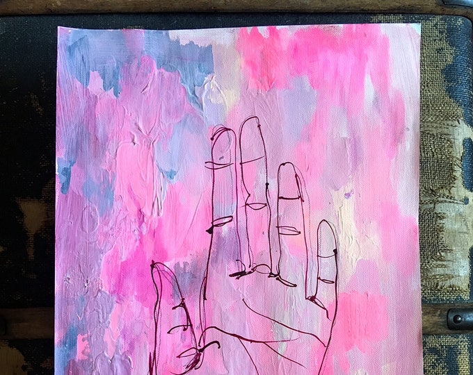 Original acrylic painting on paper Hold artwork by Paula Mills