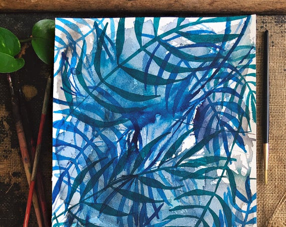 Original watercolor and ink painting on paper Nature In Blue No.3 artwork by Paula Mills