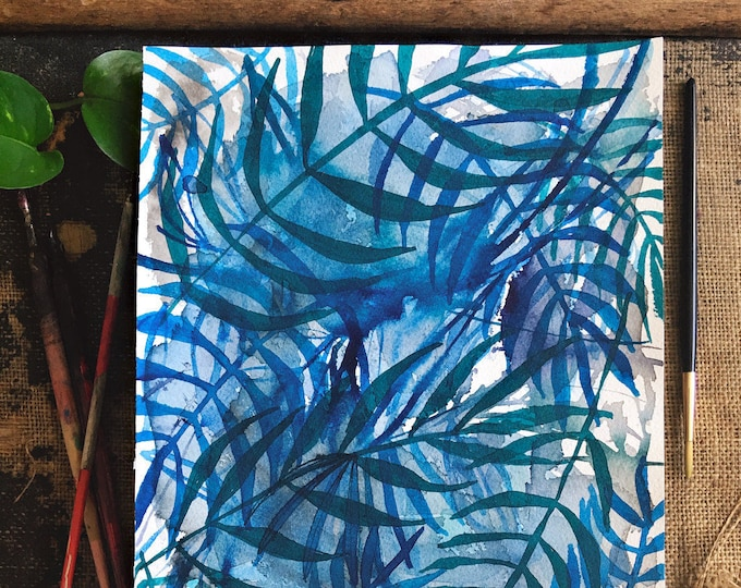 Original watercolor and ink painting on paper Nature In Blue No.3 artwork by Paula Mills botanical art decor