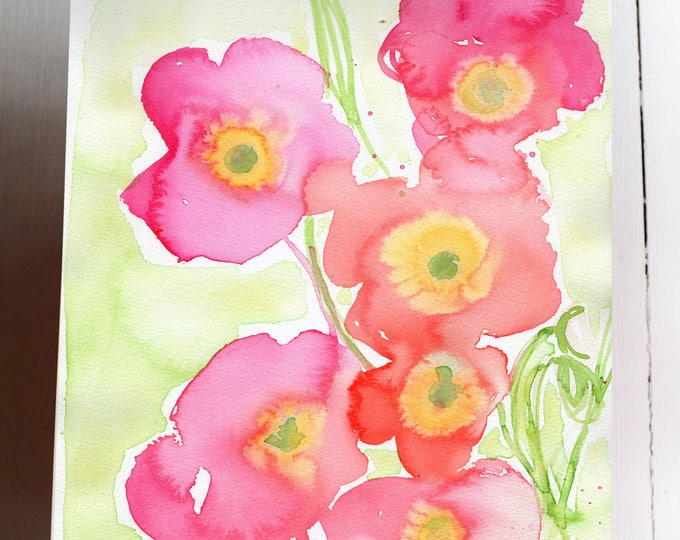 Original Watercolor artwork Pink Poppies No.2 Botanical Wall Art by Paula Mills