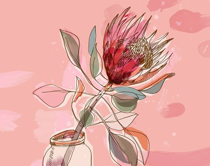 King Protea Jar, Flower Wall Art, Australian Native, Flower Decor, Botanical Native Print, Protea Painting Archival Print