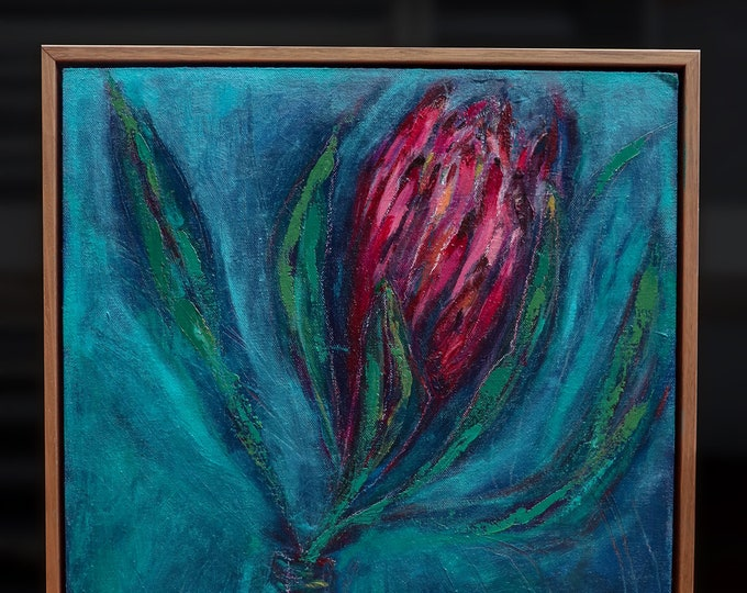 Brave Queen Original Oil Painting framed ready to hang wall art Protea Painting