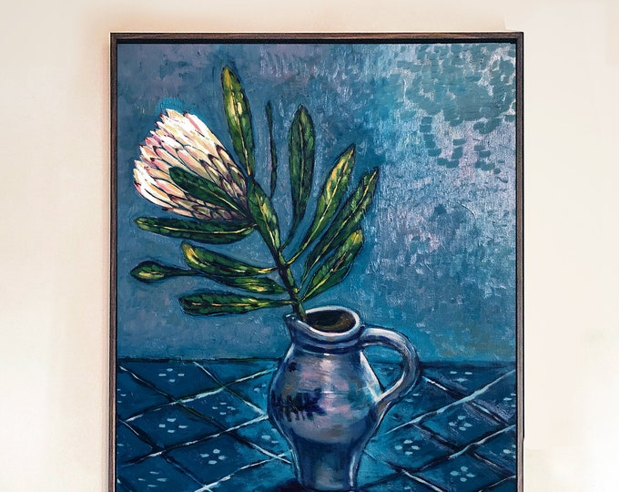 Proteas In Blue Original Framed Oil Painting on Canvas