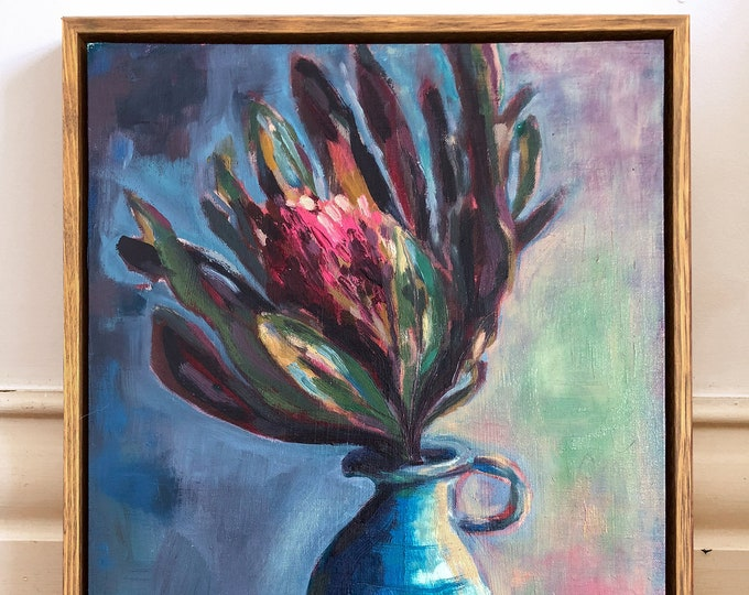 Be Still Original Oil Painting framed ready to hang wall art Protea