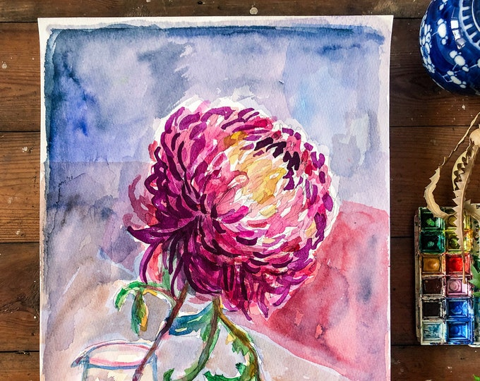 Jar of Purple Dahlia Original Watercolour Painting Botanical Wall Art