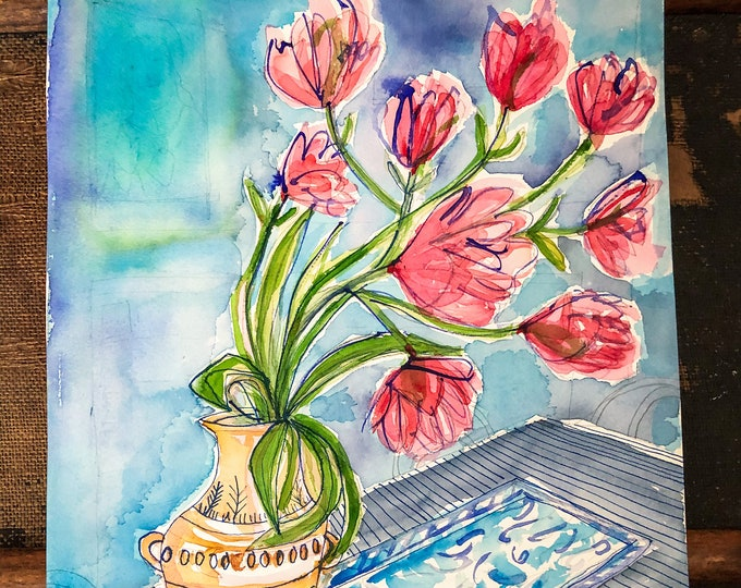 Original watercolour painting Tulips In Clay Pot artwork by Paula Mills Botanical Wall Art