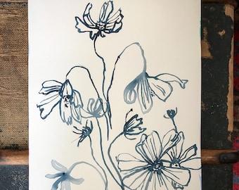 Original watercolour painting Simple Blue Flowers artwork by Paula Mills Botanical Wall Art