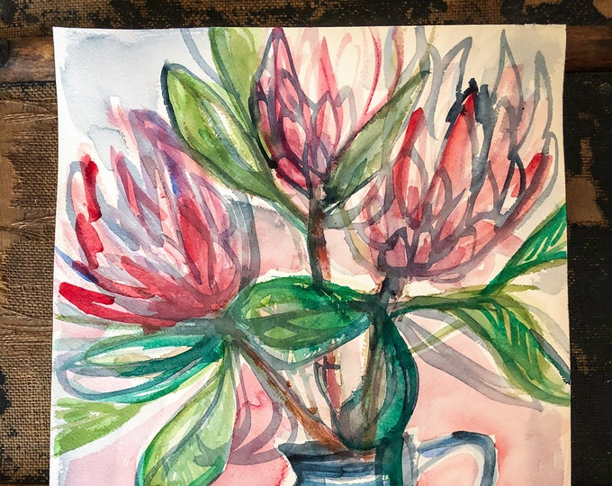 Original watercolour painting Three Proteas In Blue Jug artwork by Paula Mills Botanical Wall Art