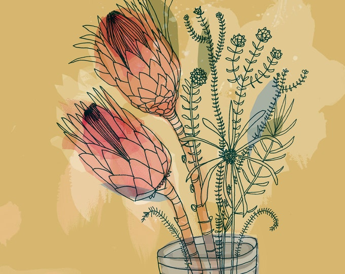 Jar of Proteas Print, Flower Wall Art, Australian Native, Flower Decor, Botanical Native Print, Protea Painting Archival Print