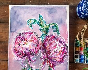 Double Dahlia In Purple Original Watercolour Painting Botanical Wall Art