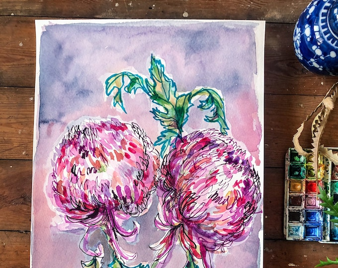 Double Dahlia In Purple Original Watercolour Painting Botanical Wall Art