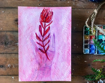 Original watercolor and ink painting on paper Always Holding  artwork by Paula Mills