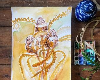 Banksia Gold No.1 Original Watercolour Painting Botanical Wall Art