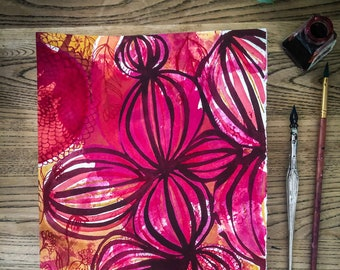 Original watercolour and ink painting on paper Maroon and Pink Ink Florals artwork by Paula Mills