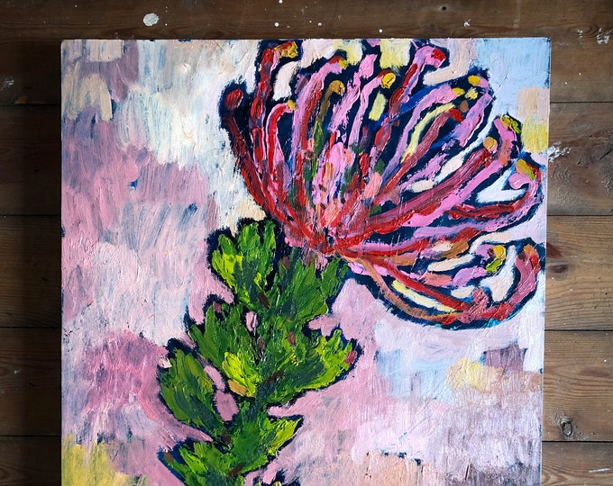 Pin Cushion Oil Painting on Board Original Botanical Wall Art