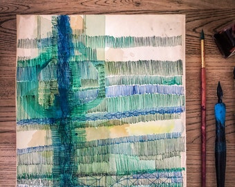 Original watercolour and ink painting on paper Green Ink No.1 artwork by Paula Mills