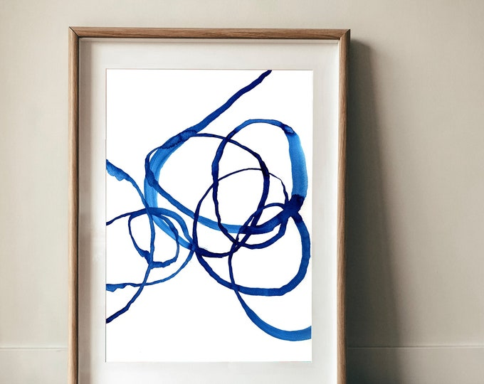 Quiet Blue No.1 Wall Art Print abstract illustration in blue ink decor