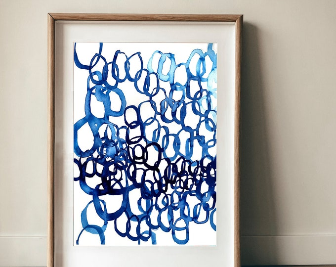 Quiet Blue No.2 Wall Art Print abstract illustration in blue ink decor