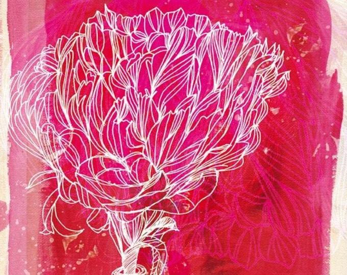 Peony Archival Wall Art print Botanical illustration