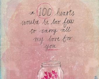 One Hundred Hearts - Digital Download Paula Mills Illustration Instant Printable Wall Art Children's room decor