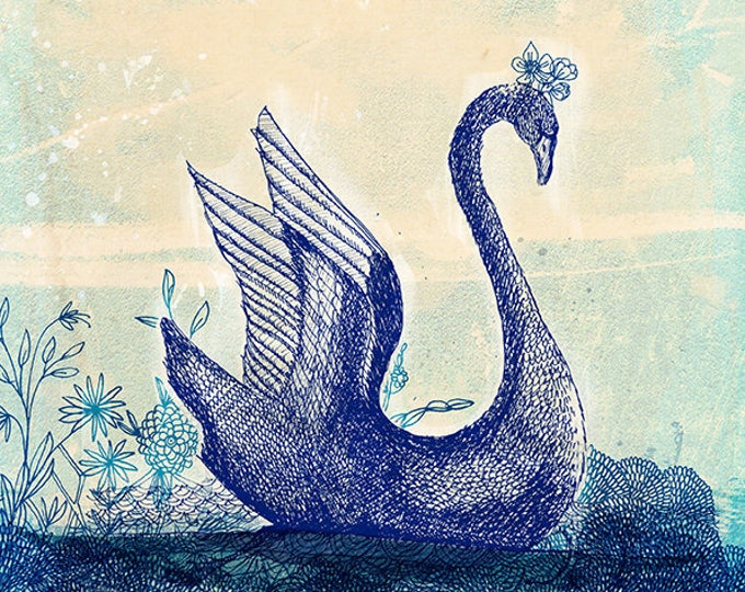 Sailing Swan Archival Wall Art print Kids Decor Childrens Room Art