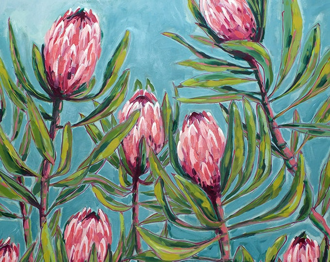 Pink Protea Print, Flower Wall Art, Australian Native, Pink Flower Decor, Botanical Native Print, Pink Protea Painting Archival Print
