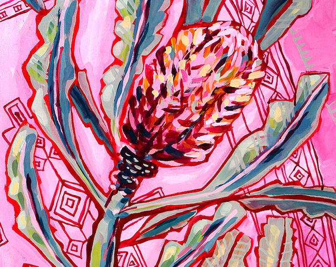 Banksia On Persians No.1 Archival Wall Art Print Australian Native botanical wall art prints