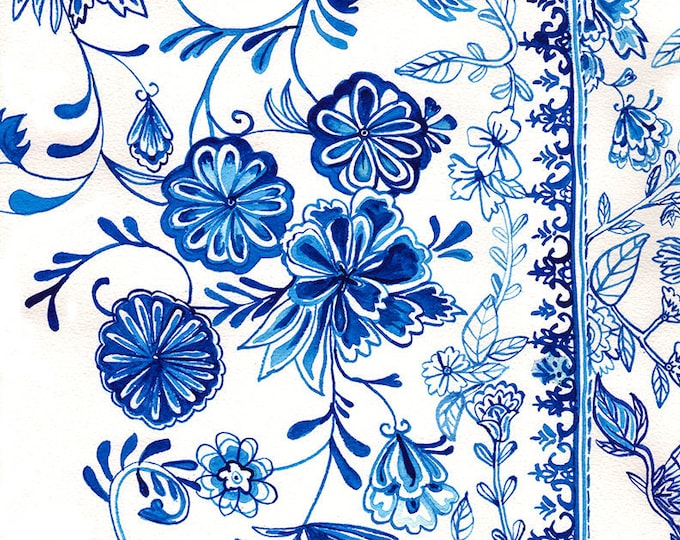 Teacup Pattern Wall Art Print abstract illustration in blue ink decor