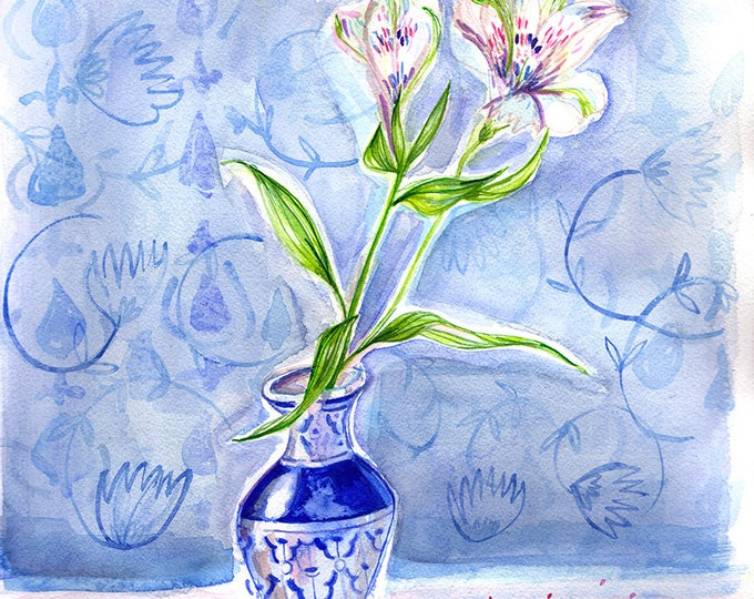 Dotty Vase Blue Wall Art Print botanical illustration decor