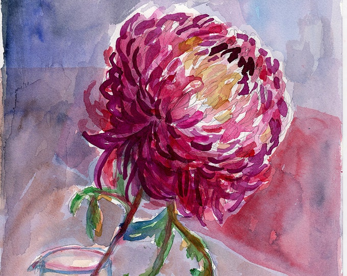 Jar of Purple Dahlia Wall Art Print botanical illustration decor