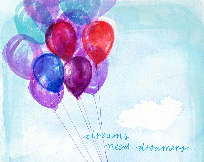 Dreamers Archival Wall Art Print Kids Decor Nursery Unisex watercolour balloon illustration
