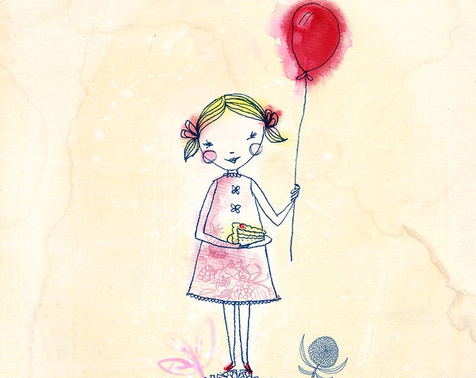 Red Balloon Girl Archival Wall Art print Kids Decor Childrens Room Art