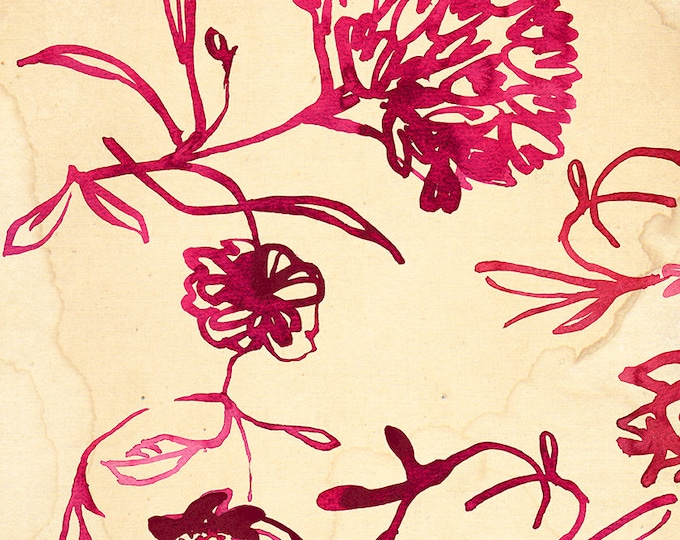 SALE Red Ink Floral Pattern Wall Art Print Botanical