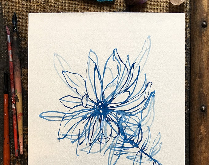 Original watercolor and ink painting on paper Blue Wash Flower artwork botanical decor